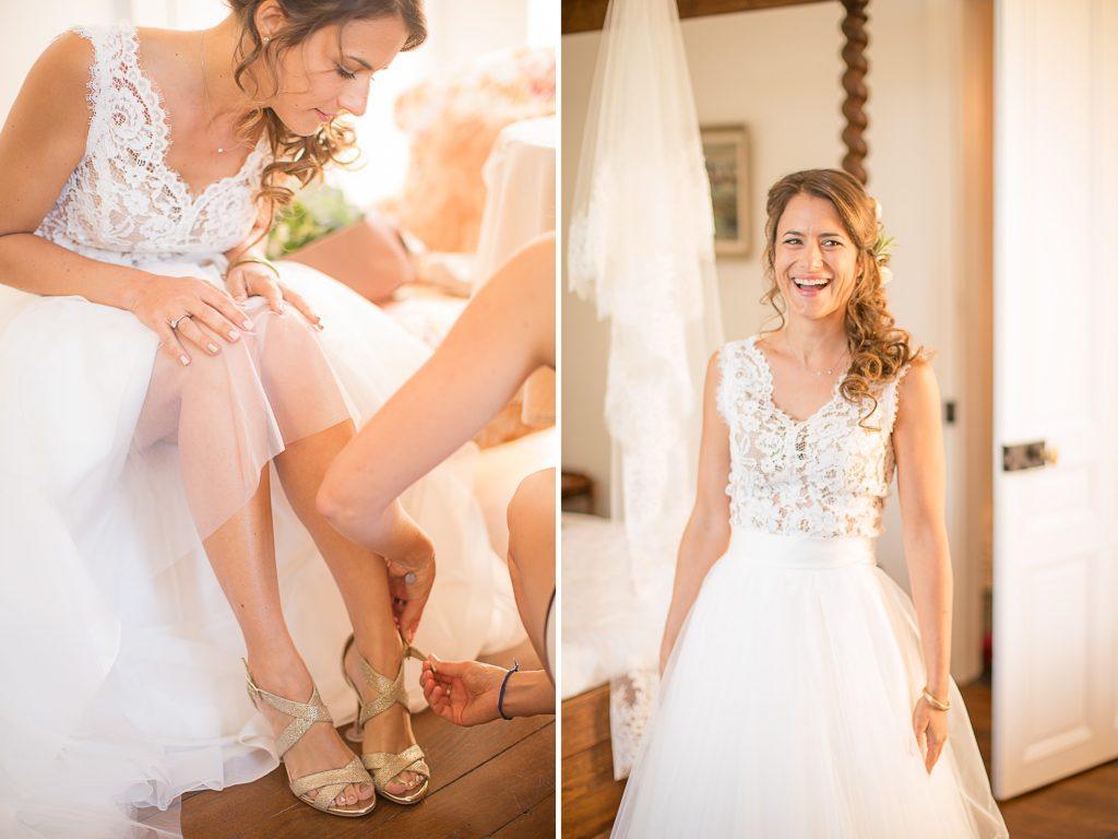 chaussures et robe de la mariée