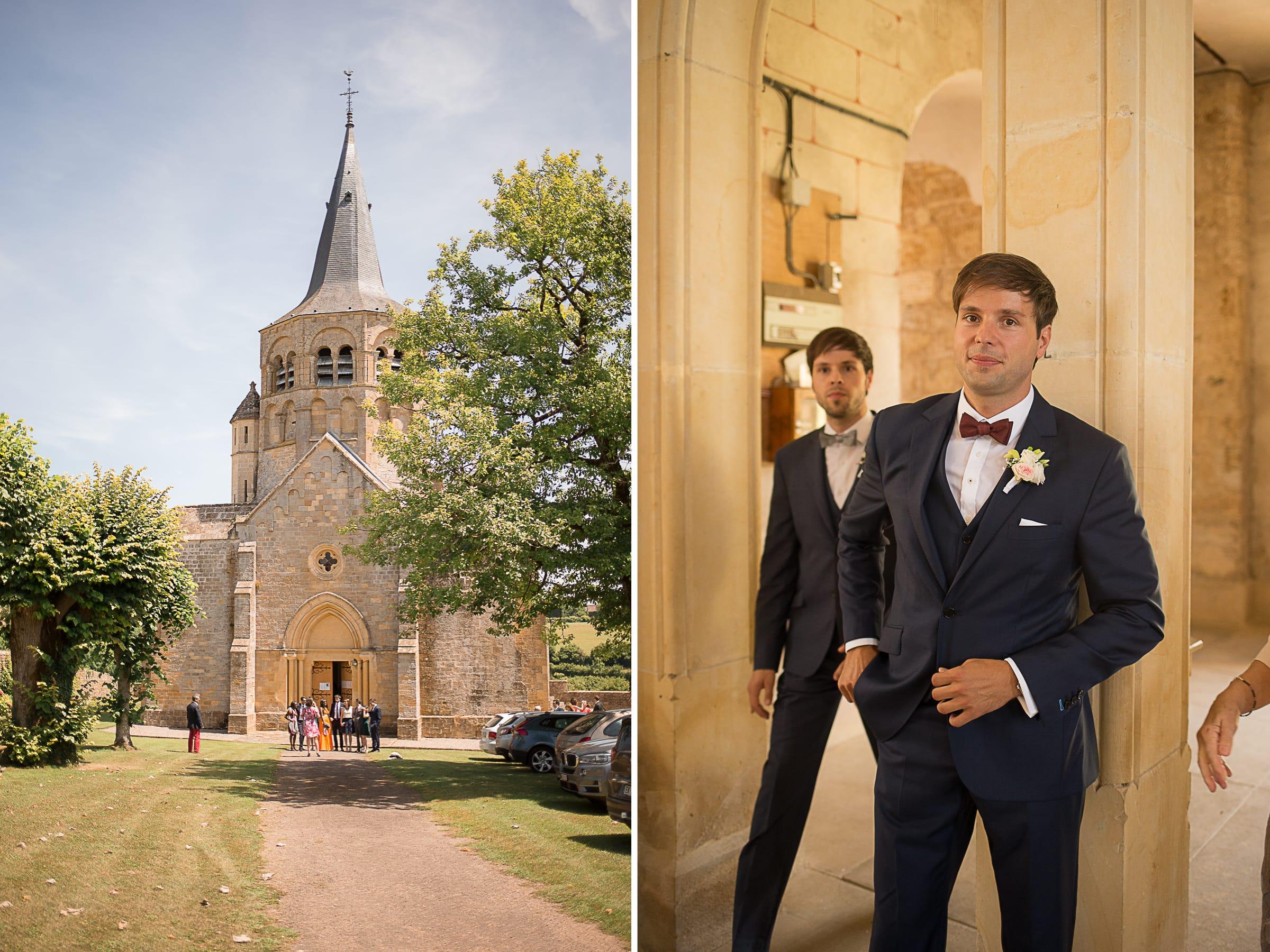 Arrivée du futur marié à l'église