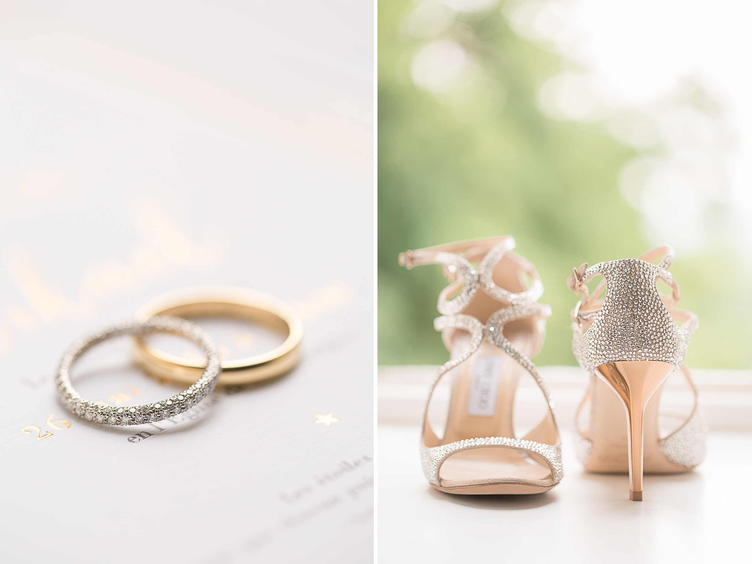 chaussures et alliances du mariage