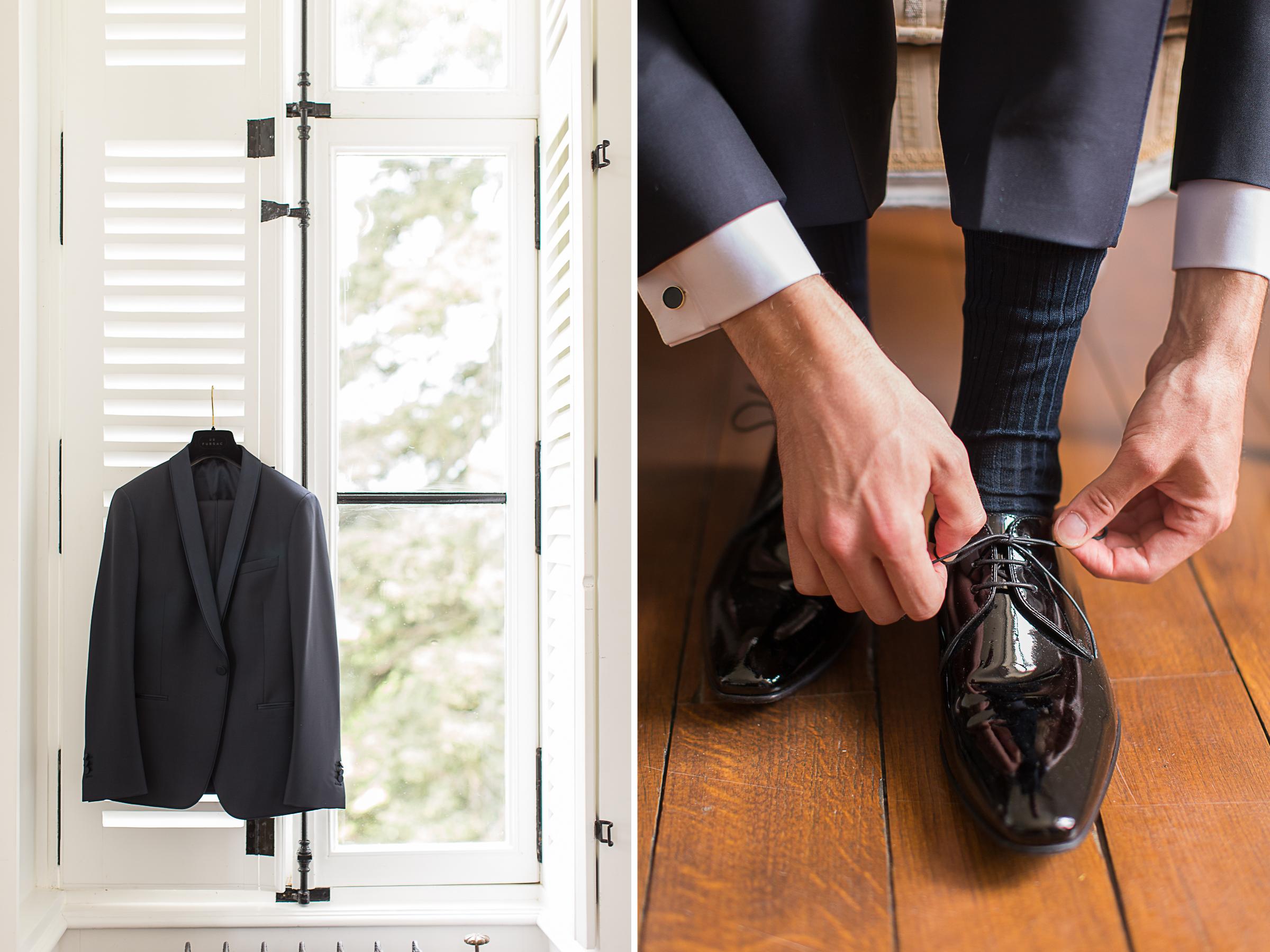 veste et chaussures du marié