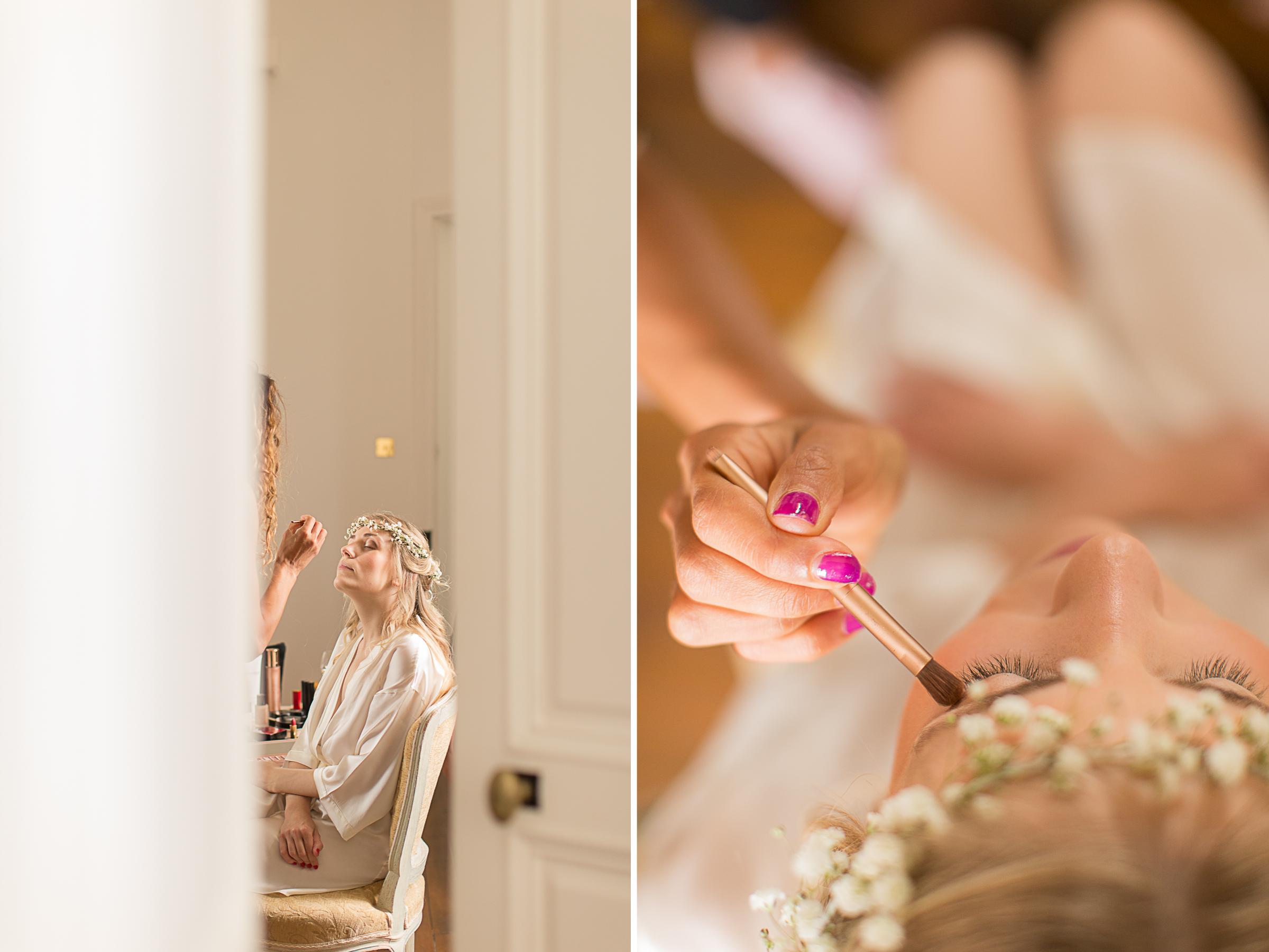 détail du maquillage de la mariée