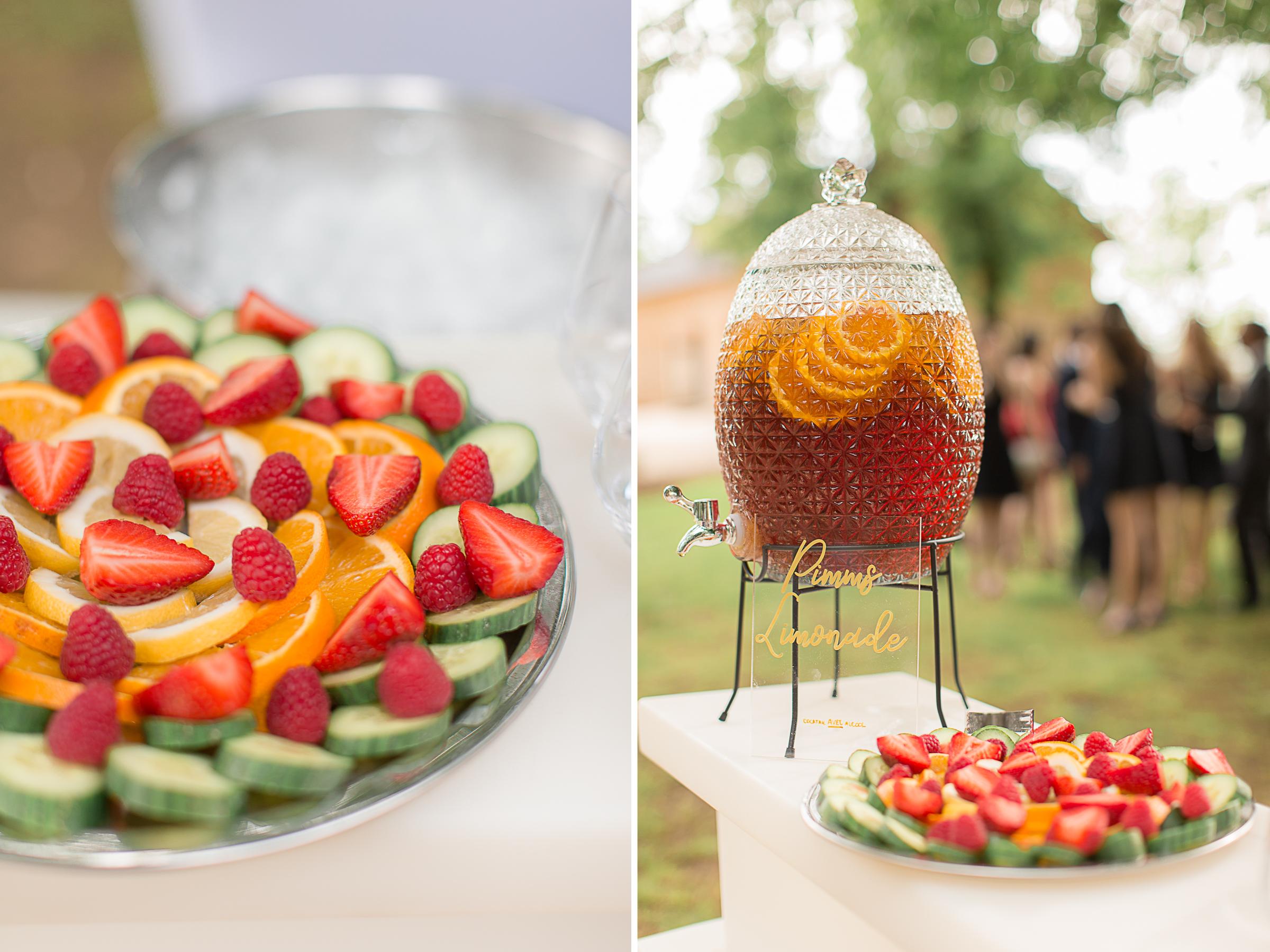 cocktail et fruits du mariage