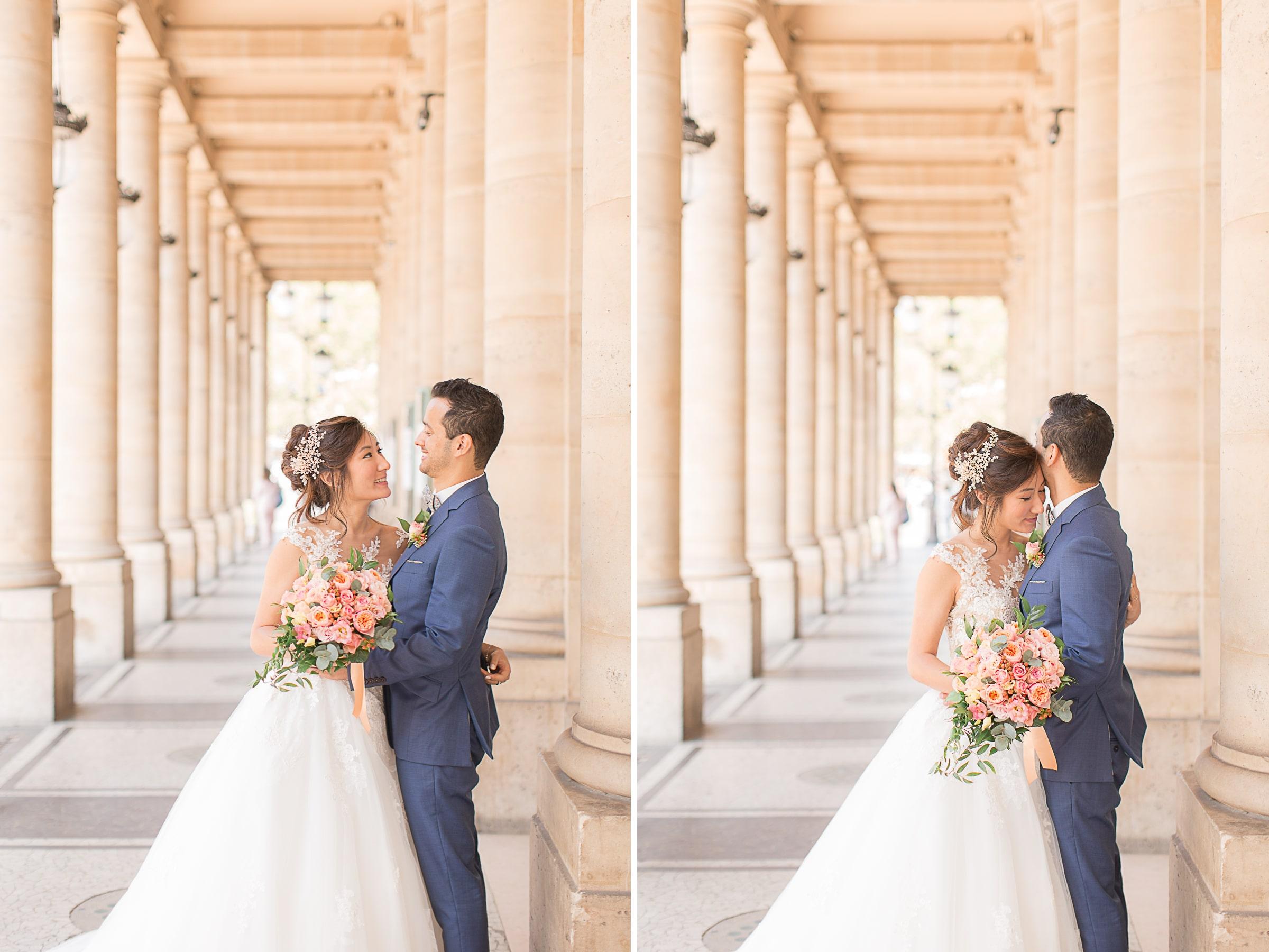 seance photo de couple du mariage à paris au grand palais