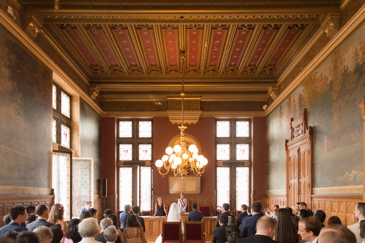 photo de la salle de mariage de vincennes avec tous les invités