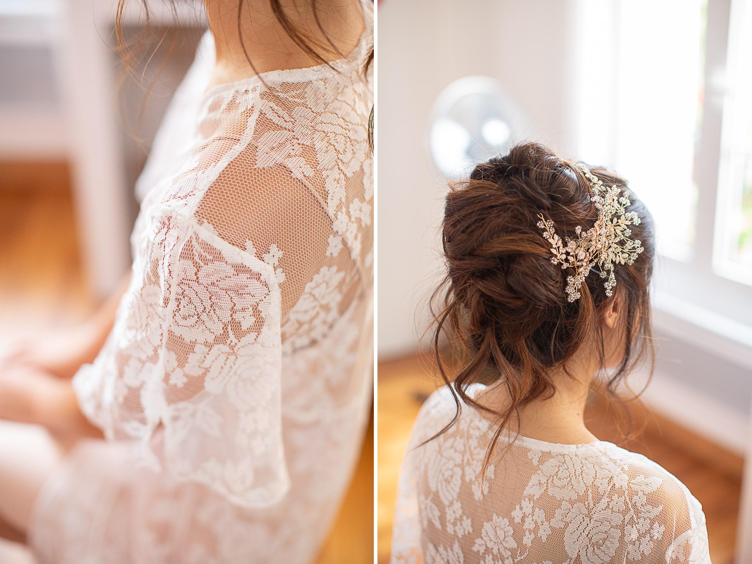 détails de la dentelle de la tenue des préparatifs de la mariée