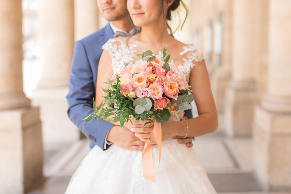 photo artistique du bouquet de la mariée