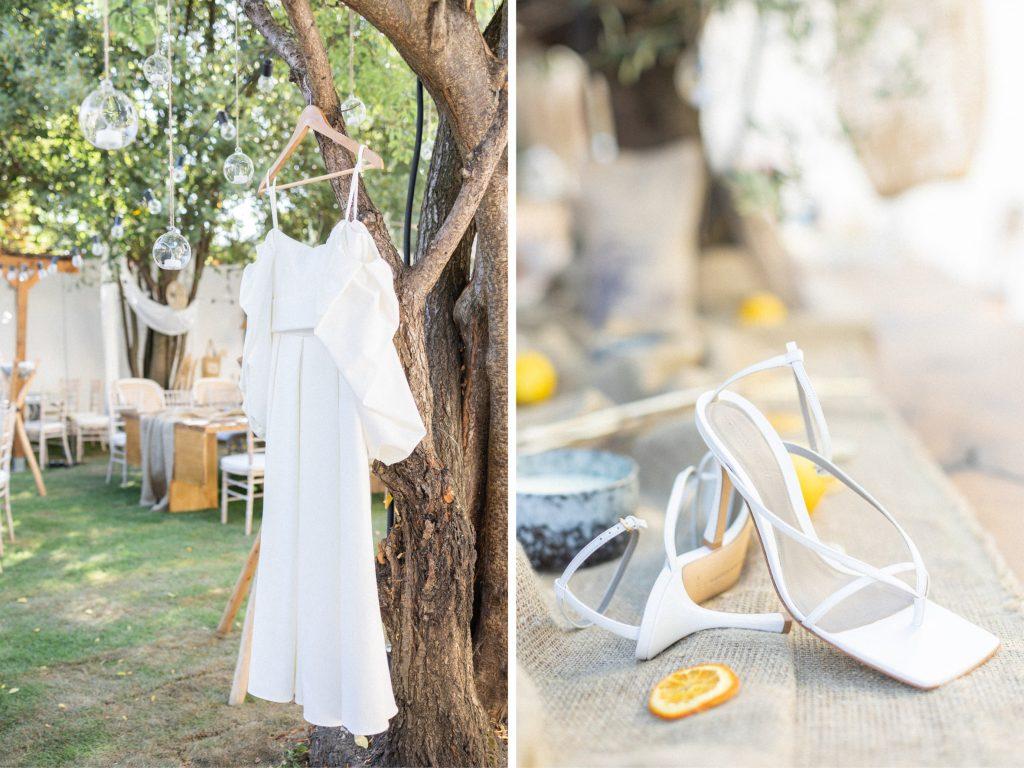 robe et chaussures de la mariée achetés chez Lanvin et Gucci