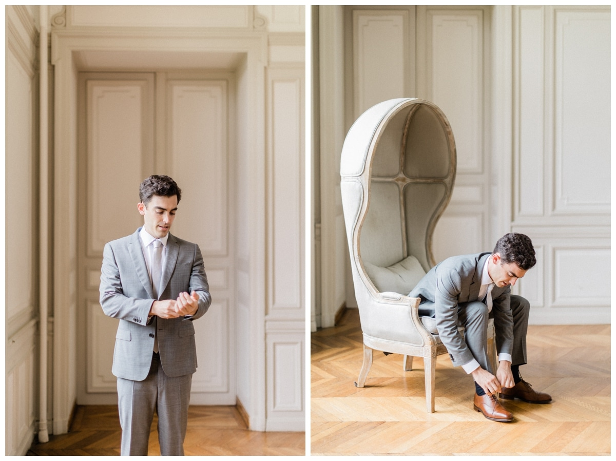 groom is getting ready chateau
