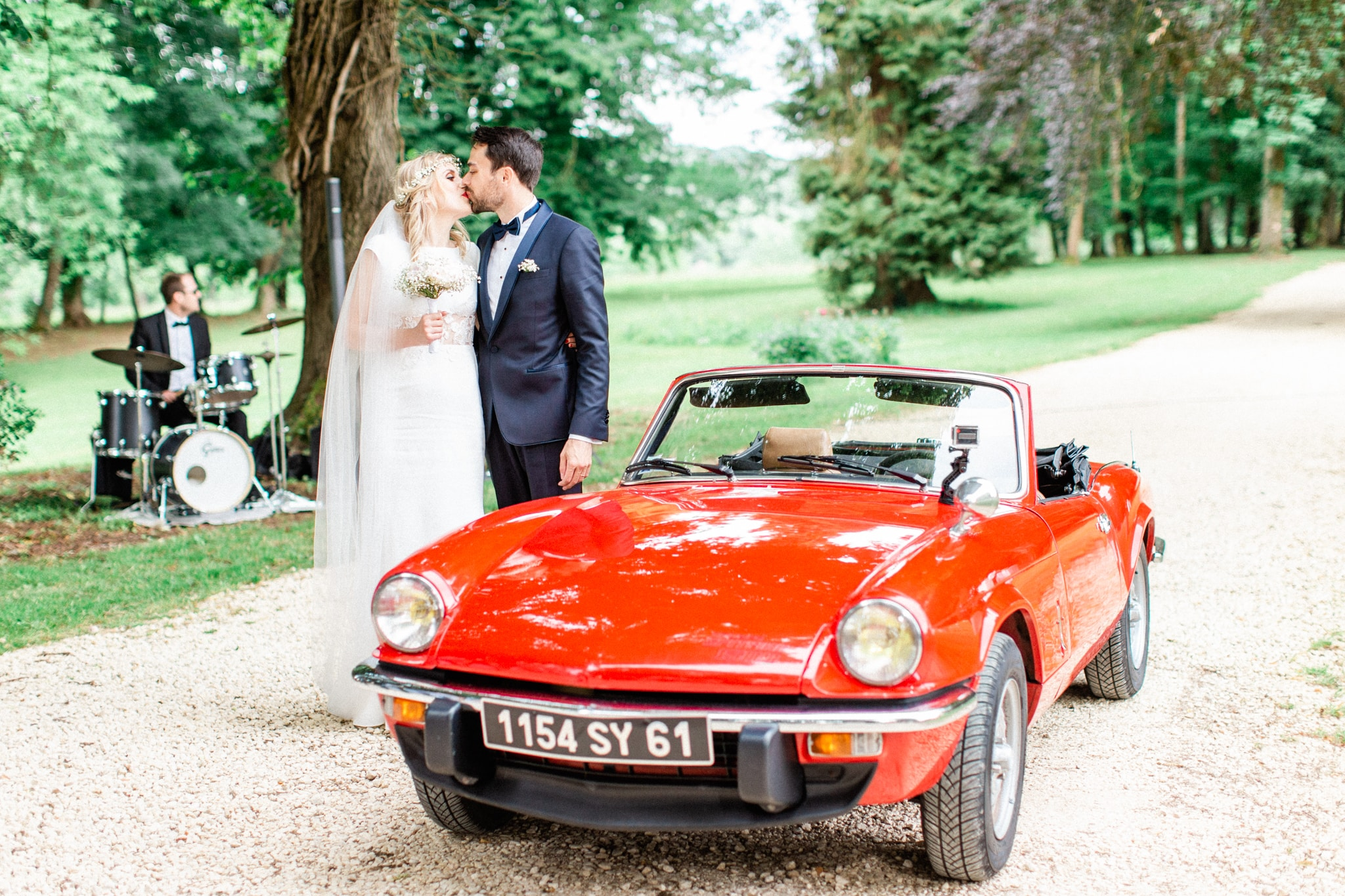 french couple getting married in a french chateau